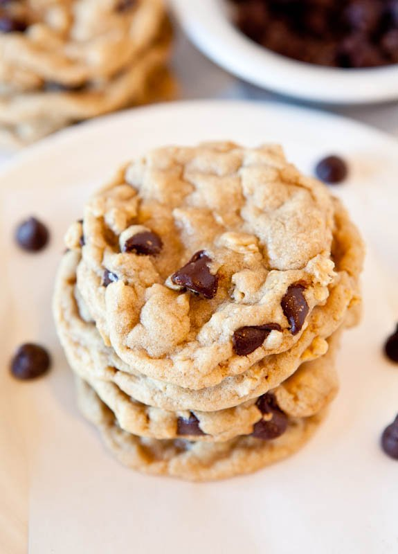 Overhead of stacked Chocolate Chip Peanut Butter Oatmeal Cookies on plate