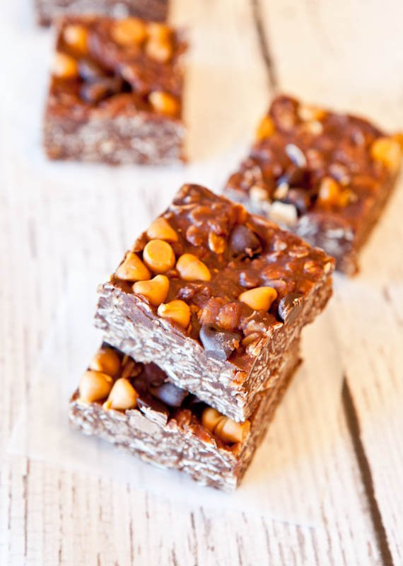 Stacked Chocolate Peanut Butter Oat Squares