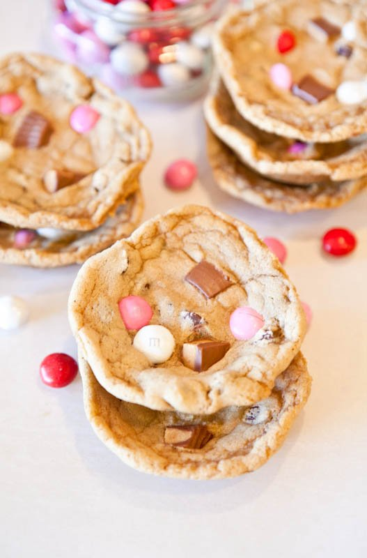 Overhead of stacked Deep Dish Chocolate Chip Cookies with PB Cups & PB M&M's