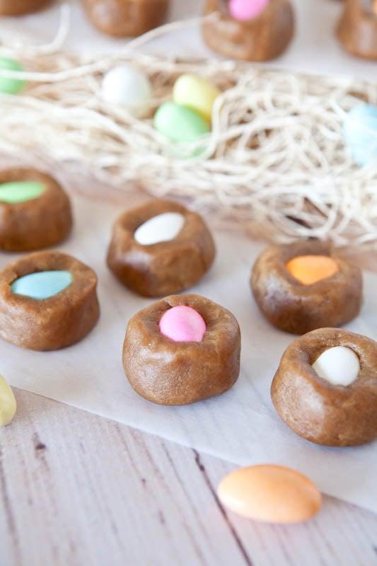 """Egg""-in-a-Nest Stuffed Peanut Butter Cookie Dough Bites"