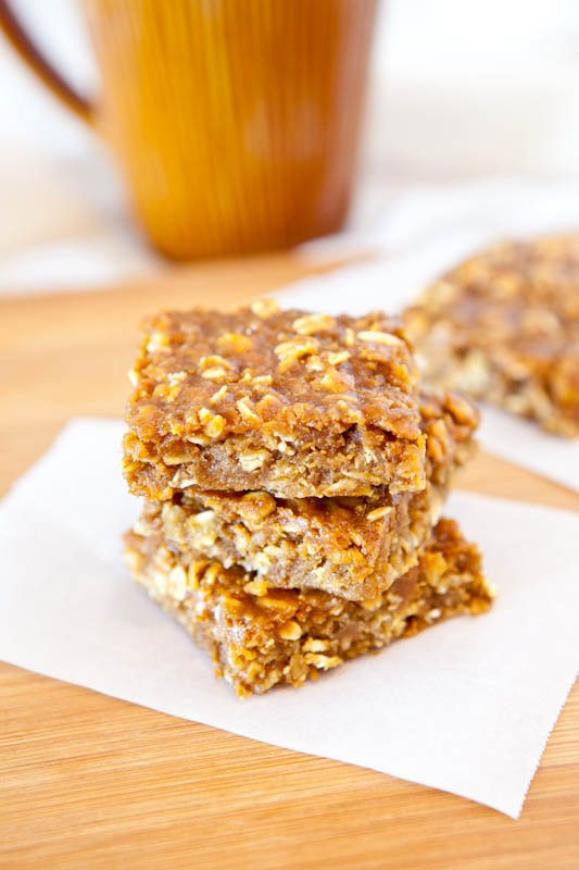 Three stacked Pumpkin Peanut Butter Oatmeal Bars