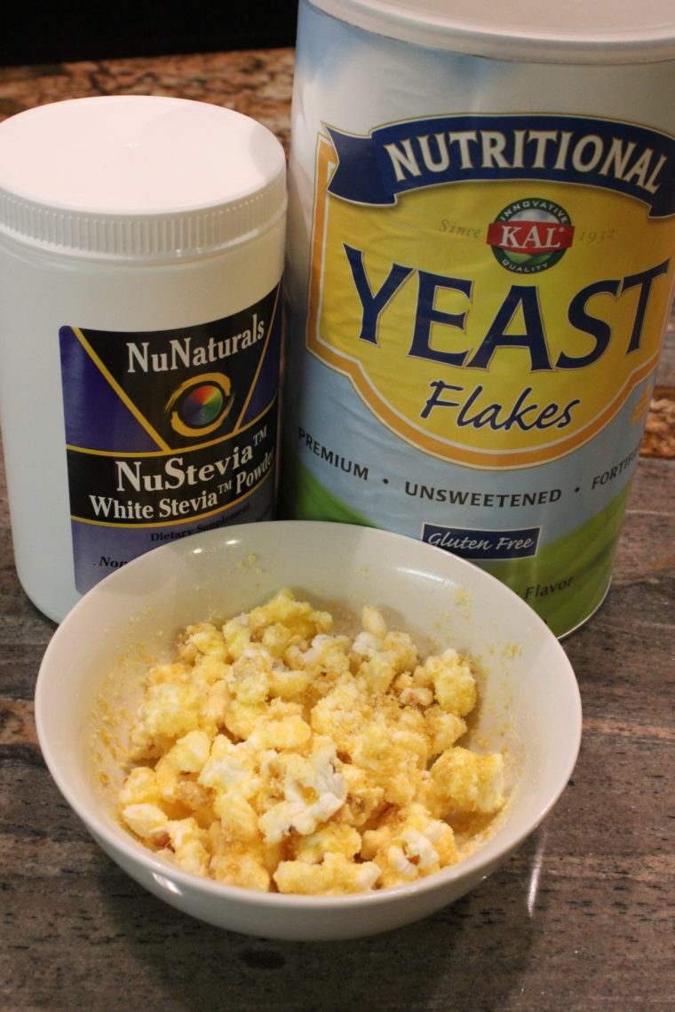 Stevia Jar, Nutritional Yeast and bowl of popcorn