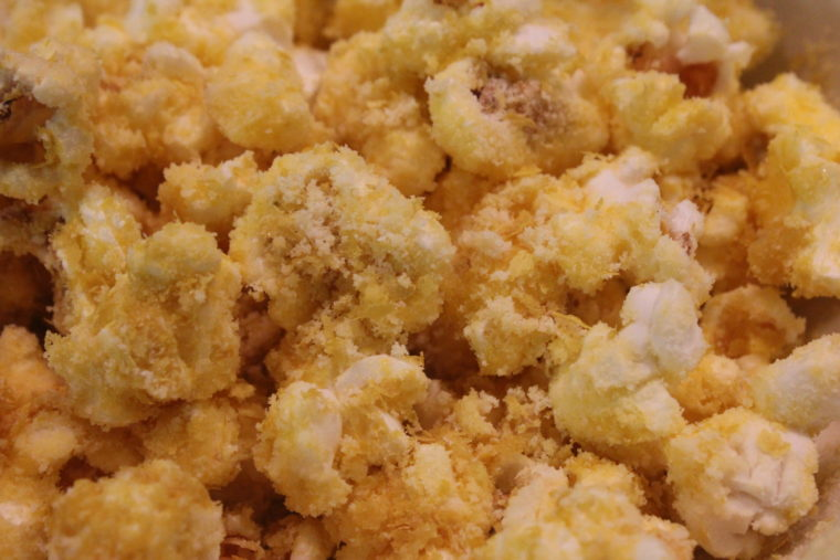 Close up of popcorn with Nutritional Yeast