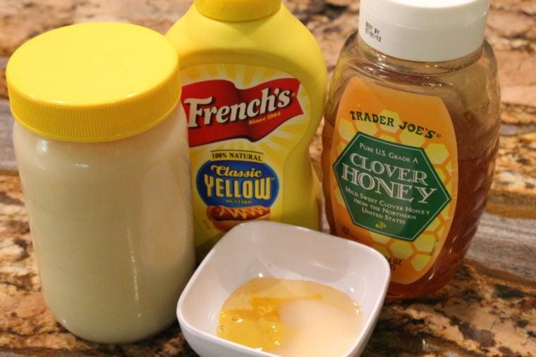 Ingredients needed to make Sweet Potatoes, Creamy Honey Mustard Dressing