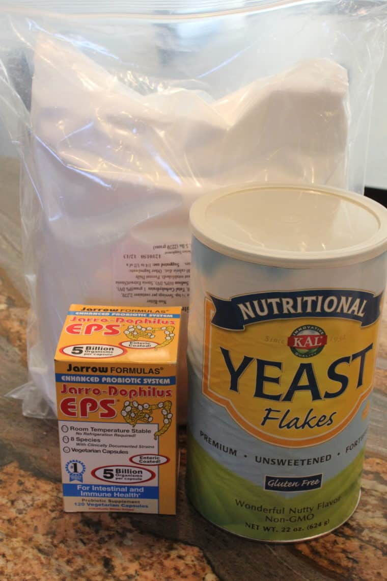 Stevia, Probiotics and Nutritional Yeast on countertops