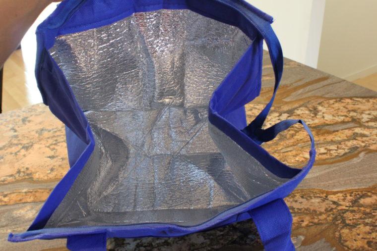 Inside blue cooler bag
