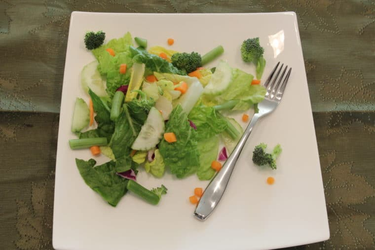 Overhead of salad on plate with fork