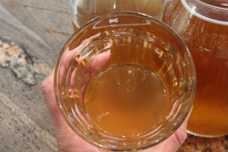 Overhead of glass of Kombucha