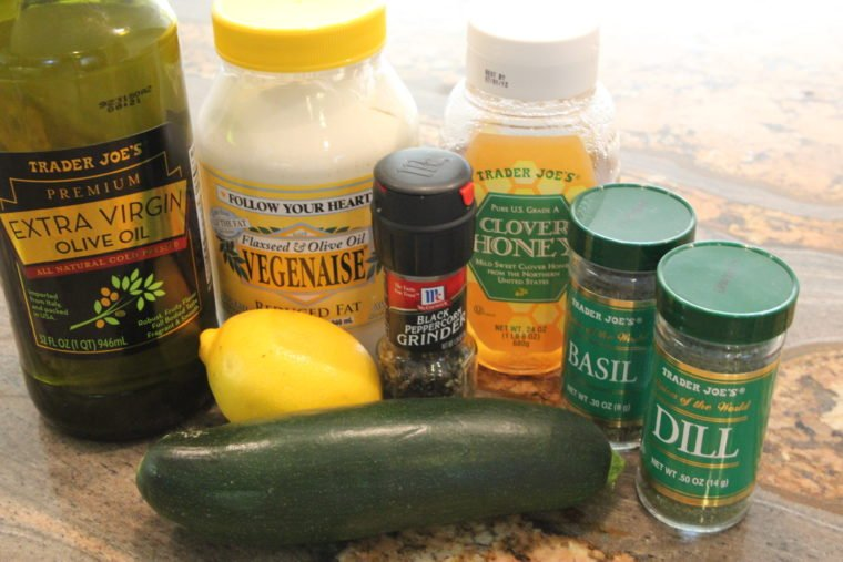 Ingredients needed to make Raw Pasta Salad with Creamy Lemon & Herb Dressing