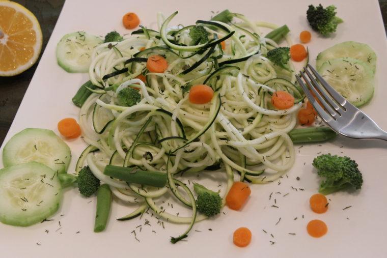 Raw Pasta Salad on plate
