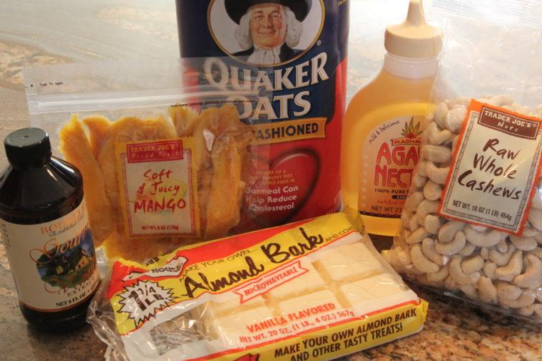 Ingredients needed to make No-Bake White Chocolate & Mango Cookie Dough Bites