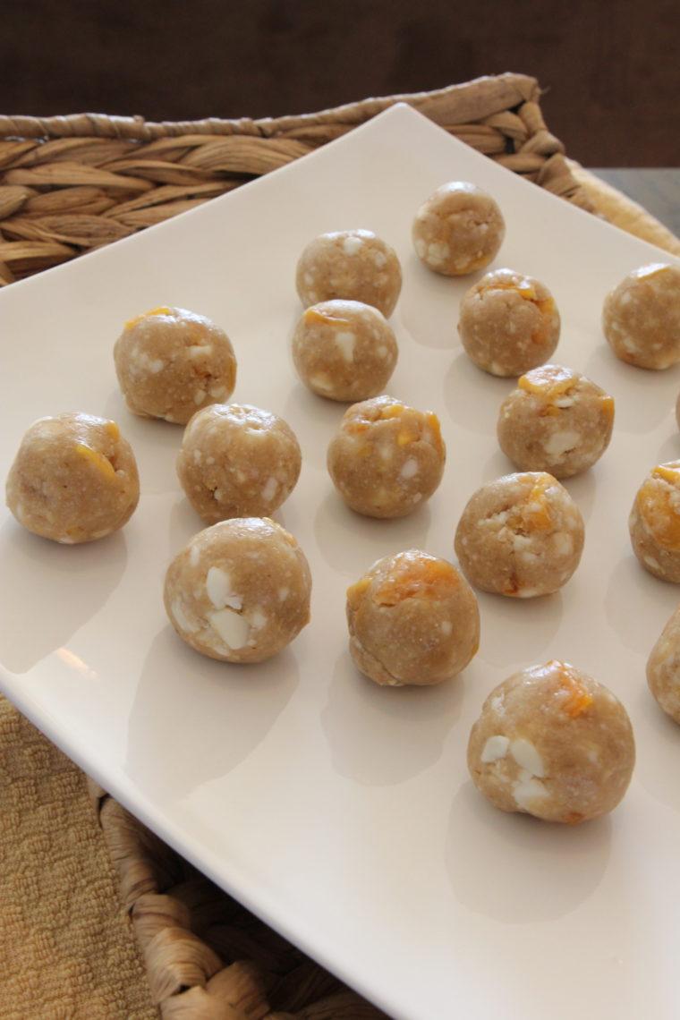 Dough balls on white plate