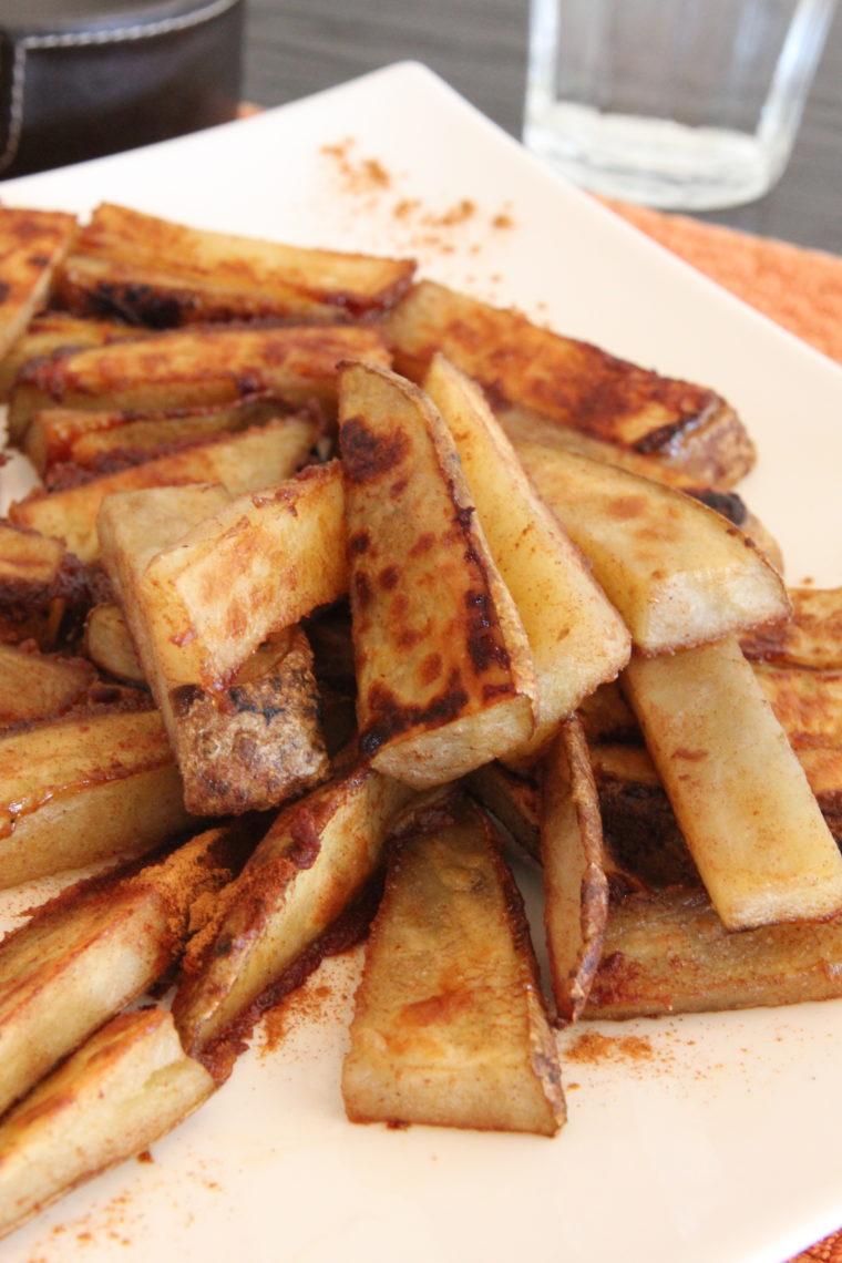 Cinnamon Sugar & Ginger Roasted Potato Sticks before editing