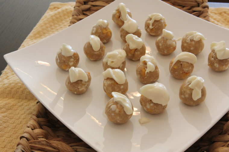 Dough balls frosted with white chocolate