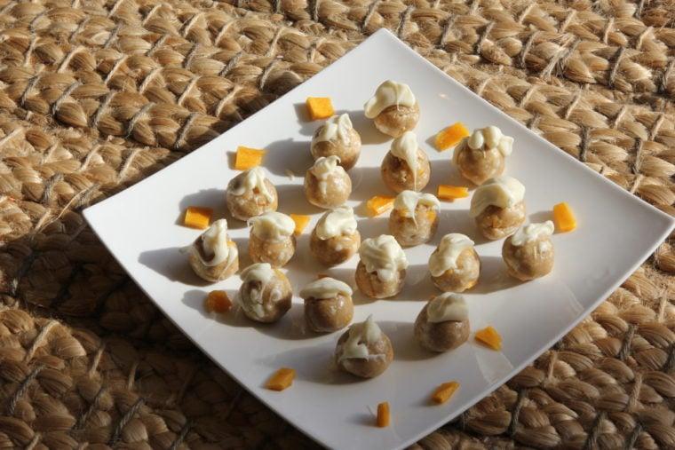 Plated No-Bake White Chocolate & Mango Cookie Dough Bites