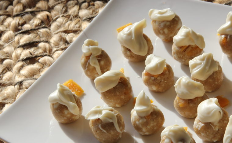 Close up of No-Bake White Chocolate & Mango Cookie Dough Bites