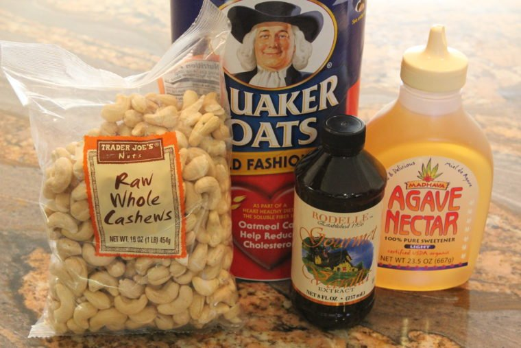 Ingredients needed to make No Bake Toffee & Chocolate Chip Cookie Dough Bites