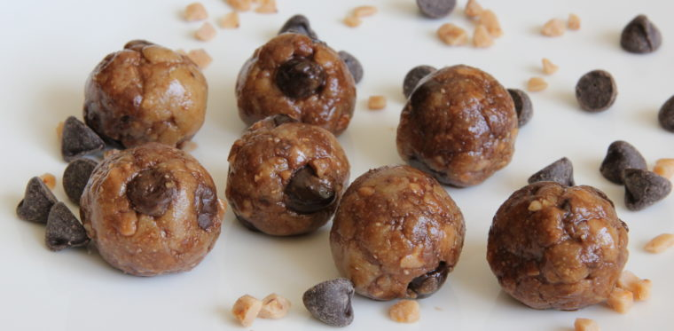 No Bake Toffee & Chocolate Chip Cookie Dough Bites on plate with toffee bits and chocolate chips