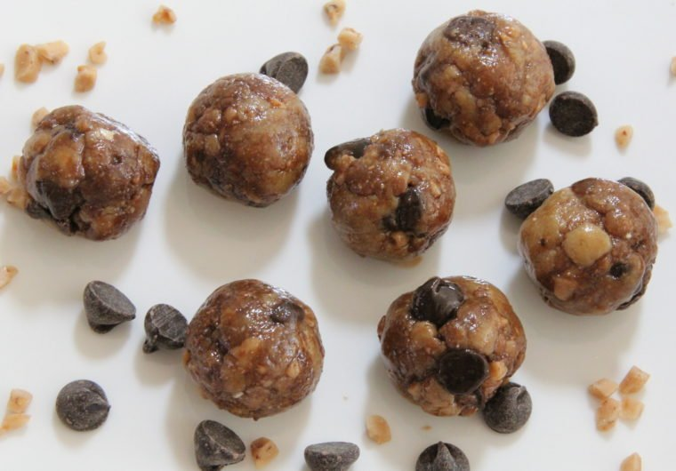 Close up of No Bake Toffee & Chocolate Chip Cookie Dough Bites