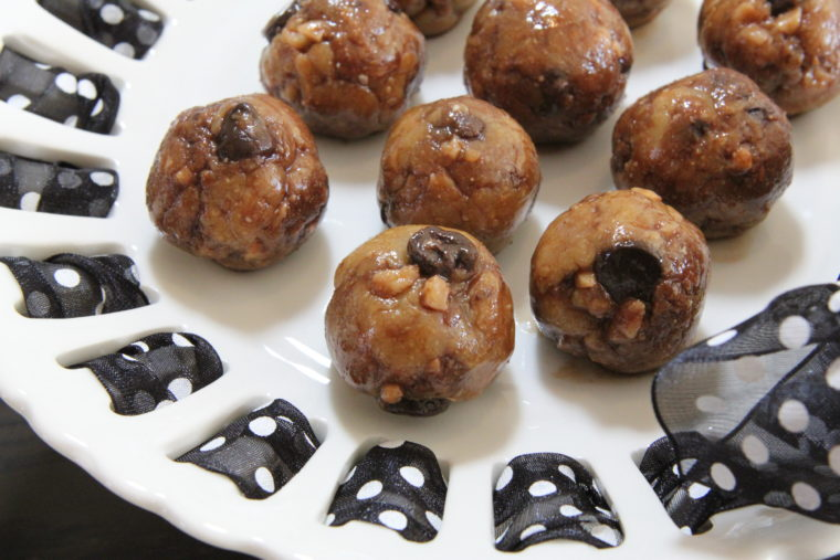 Close up of bites on cake stand