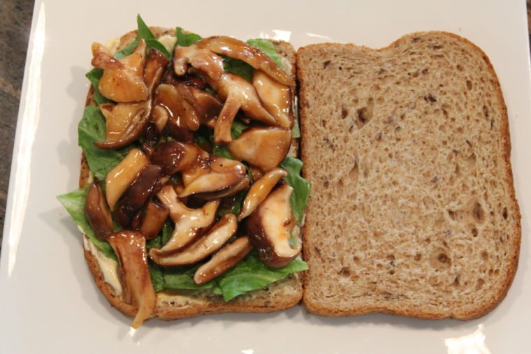 Sweet & Sour 'Shrooms on bread with lettuce