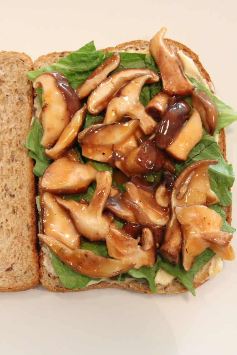 Sweet & Sour Marinated Mushrooms on bread with lettuce