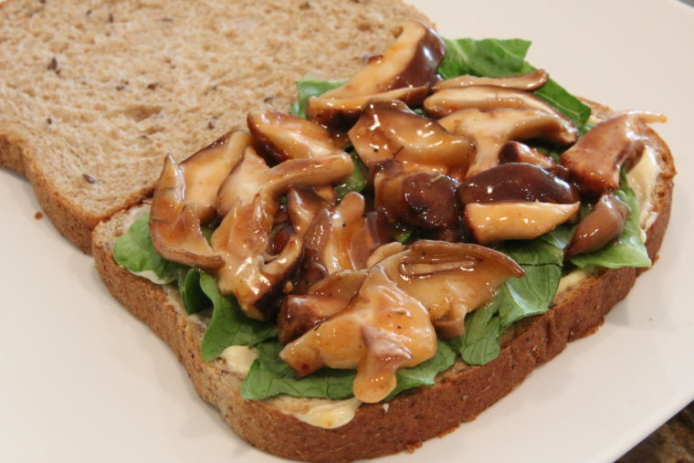 Side of Sweet & Sour 'Shrooms on bread with lettuce