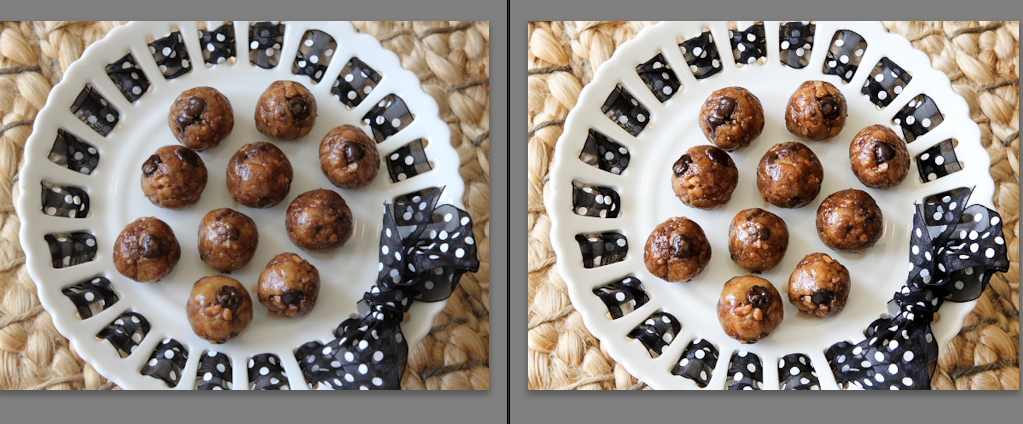 Comparisson of No Bake Toffee & Chocolate Chip Cookie Dough Bites edited and unedited