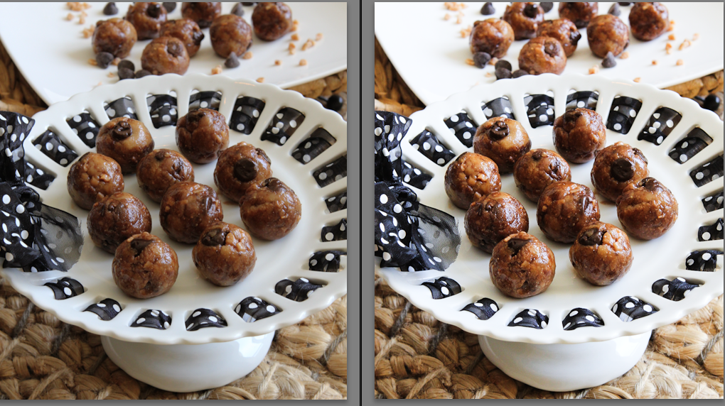 Before and after editing No Bake Toffee & Chocolate Chip Cookie Dough Bites