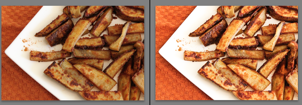 Before and after editing Potatoes