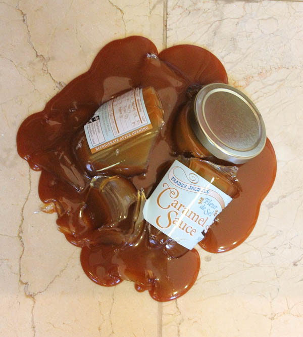 Broken Caramel Sauce Jar on floor