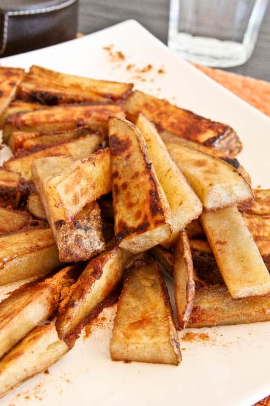 Cinnamon Sugar & Ginger Roasted Potato Sticks after editing