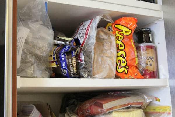 Baking ingredients in cupboard