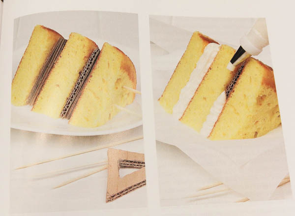 Inside book showing how to make the perfect slice of cake