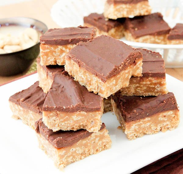 Side view of No-Bake Nutter Butter Special K Bars on white plate