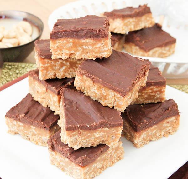 Side of stacked No-Bake Nutter Butter Special K Bars