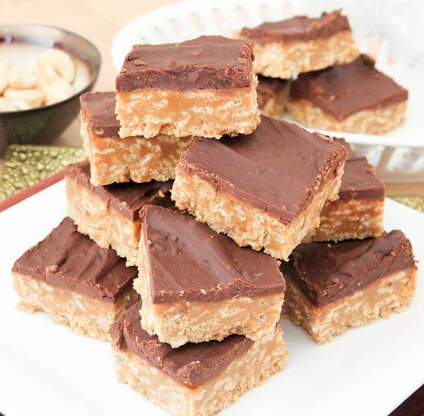 Finished and plated No-Bake Nutter Butter Special K Bars stacked on plate