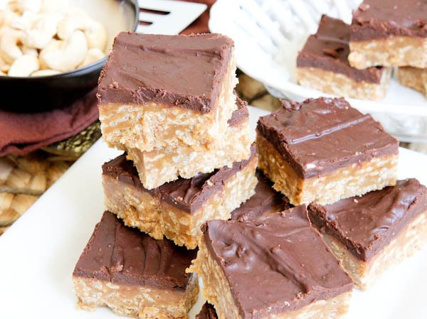 No-Bake Nutter Butter Special K Bars on plate