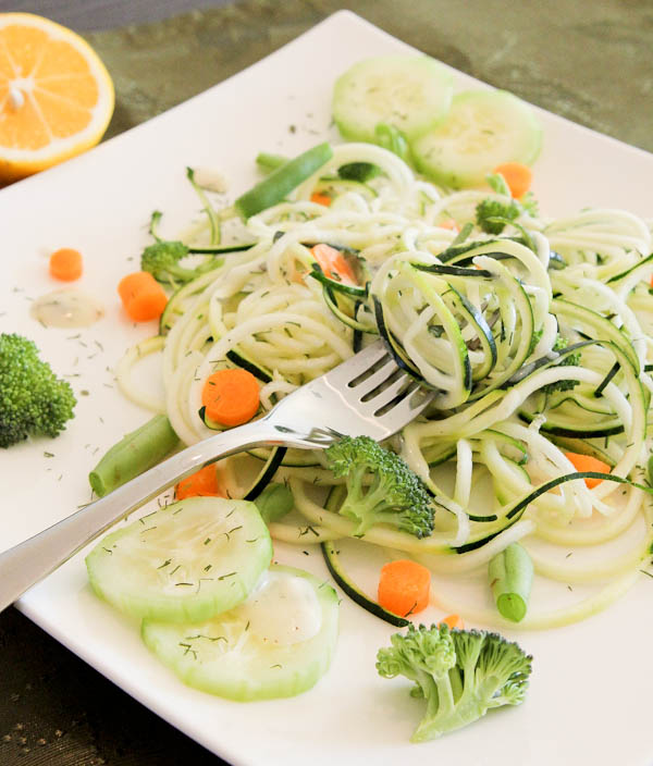 Raw Pasta Salad with Creamy Lemon & Herb Dressing