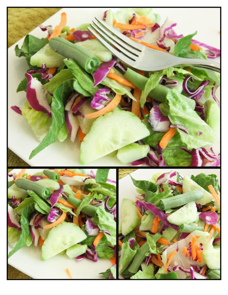 Collage picture of green salad with vegetables