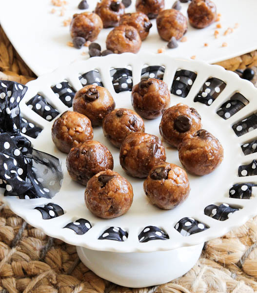 No Bake Toffee & Chocolate Chip Cookie Dough Bites on cake stand