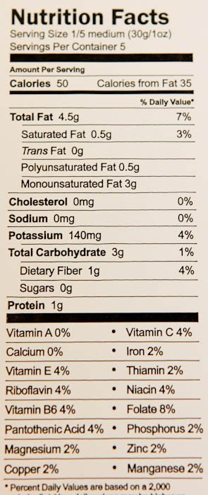 Nutrition Facts Serving Size 1/5 medium or 30grams or one ounce Amount Per Serving Calories 50 Calories from Fat 35 Total Fat 4.5grams Saturated Fat 0.5g Trans Fat Og Polyunsaturated Fat 0.5g Monounsaturated Fat 39 Cholesterol Omg Sodium Omg Potassium 140mg Total Carbohydrate 3g Dietary Fiber 19 Sugars Og Protein 1g Vitamin A 0% Vitamin C 4% Calcium 0% Iron 2% Vitamin E 4% Thiamin 2% Riboflavin 4% Niacin 4% Vitamin B6 4% Folate 8% Pantothenic Acid 4% Phosphorus 2% Magnesium 2% Zinc 2% Copper 2% Manganese 2%