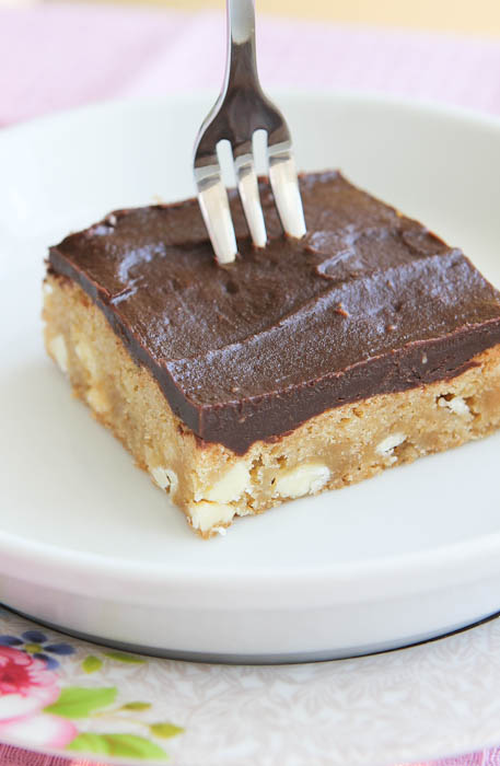 White Chocolate Blondies with Chocolate Peanut Butter Frosting with fork