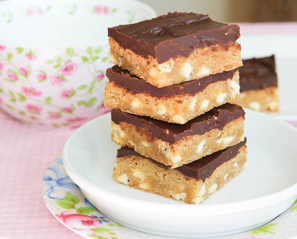 White Chocolate Blondies with Chocolate Peanut Butter Frosting stacked