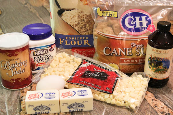 Counter of ingredients: brown sugar, enriched flour, baking soda, baking powder, butter, white chocolate, vanilla extract