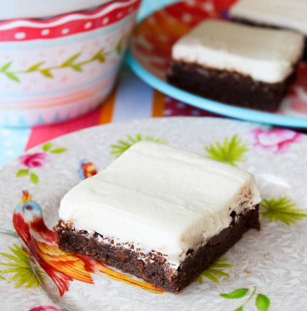 Fudgy Nutella Brownies with Cream Cheese Frosting averiecooks.com