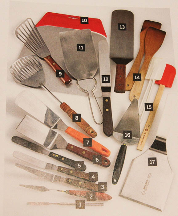 Page in book with spatulas, servers, litters etc.