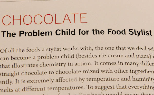 Page in book saying Chocolate - The Problem Child for the Food Stylist