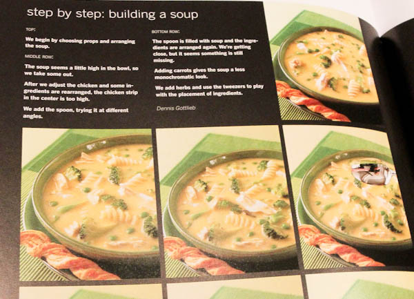 Page in book showing step by step for building a soup