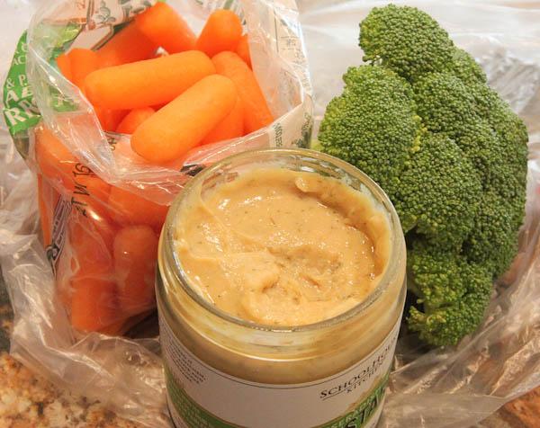 Carrots, broccoli and Horseradish Mustard jar